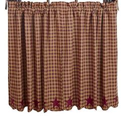VHC 36 in. Scalloped Window Tier in Red - Set of 2