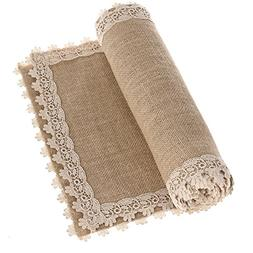 Ling's moment 12x48 Inch Burlap Cream Lace Hessian Table Run