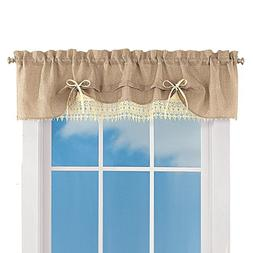 Collections Burlap Lace Café Kitchen Curtain with Rod Pocke