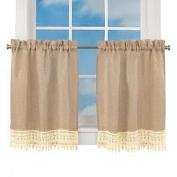 Burlap Lace CafDecor Kitchen Curtain Collection with Rod Poc