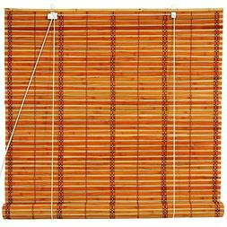 Oriental Furniture Burnt Bamboo Roll Up Blinds - Two-tone Ho
