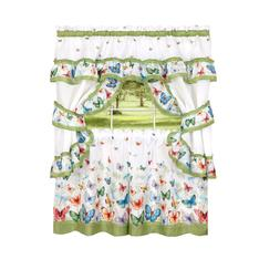 Butterflies Prairie Complete 5 Pc. Cottage Kitchen Curtain S