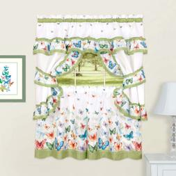 Butterflies Printed Kitchen Curtain Cottage Set Swag Tiers &