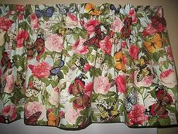 Butterflies Roses Postcard Peonies fabric kitchen curtain to