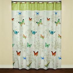 Saturday Knight Butterfly Bliss Fabric Shower Curtain, Multi