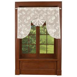 Butterfly Lace Curtain Topper Scarf for Kitchen, Bath