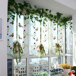 Butterfly Window Sheer Valance Roman Curtain Shades for Home
