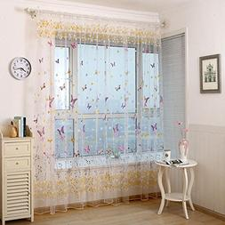 Pureaqu Beautiful Butterfly Window Treatments W74xH84 Sheer
