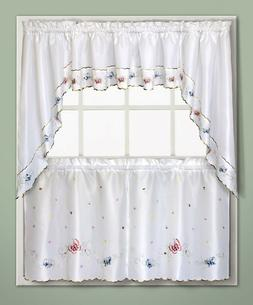 Butterlfy Embroidered Kitchen Curtain - Tiers, Swags, Valanc