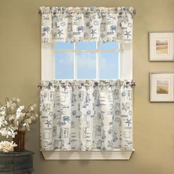 "By The Sea Printed Ocean Beach Kitchen Curtains 24"" Tier & V"