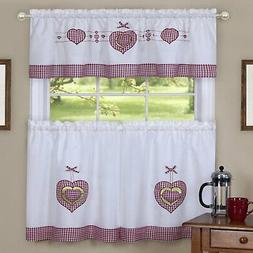 Cacia Gingham Hearts Embellished Tier and Valance Kitchen Cu