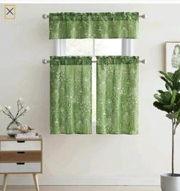 MAINSTAYS CACTI KITCHEN CURTAIN SET TIER PAIR AND VALANCE GR