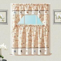 Cafe Embroidery Kitchen Curtain with Swag and Tier Set 36 in