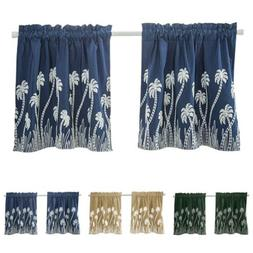Cafe Short Curtains Floral Window Drapes 50% Shading Panel K