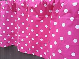 Candy Pink and White Polka Dot Valance Curtain, One Valance