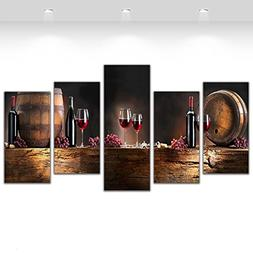 5 Pcs Canvas Art Fruit Grape Red Wine Glass Picture for Kitc