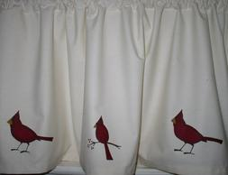 Cardinals on Muslin Valances Tiers Primitive Country Curtain
