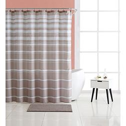 VCNY Home Carson Stripe Shower Curtain and Rug Set, 72x72, T