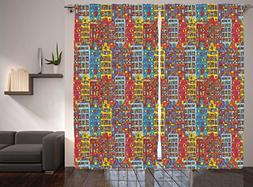 Cartoon Apartments Decor Curtains by Ambesonne, Amsterdam Ur