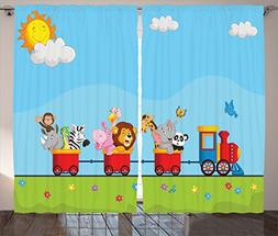 Cartoon Decor Curtains By Ambesonne, Animal On Train With Bi