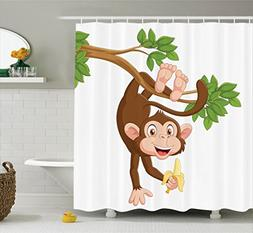 Ambesonne Cartoon Decor Shower Curtain Set, Funny Monkey Han