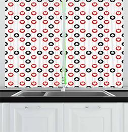 Casino Kitchen Curtains by Lunarable, Spotted Pattern Playin