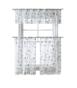 GoodGram Cassandra Floral Embroidered Semi Sheer Kitchen Cur
