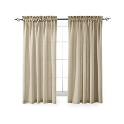 Casual Weave Semi Sheer Curtains 63 Inch Length Rod Pocket L