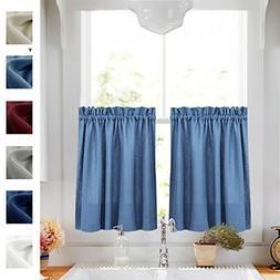 36 Inch Tiers Curtains Semi Sheer Kitchen Curtains Privacy C