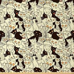 Lunarable Cat Fabric by The Yard, Modern Big Eyed Funk Style