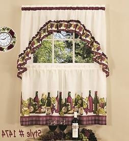 Achim Chardonnay Kitchen Curtain with Swag and Tier Set 36 I