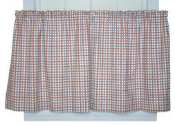 Charlestown Check 68-Inch by 30-Inch Tailored Tier Curtains,