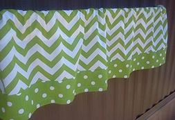 Chartreuse Green and White Valance Curtain with Polka Dot Tr