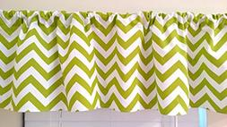 Chartreuse Lime green Chevron Valance Curtain, window treatm