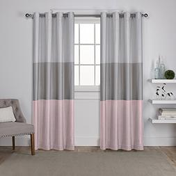 Exclusive Home Chateau Striped Faux Silk Grommet Top Window