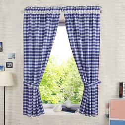 Check Curtain Short Panel Curtains Kitchen Window Cafe Home