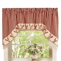 Checkered Gingham Country Rooster Rod Pocket Valance, Rooste