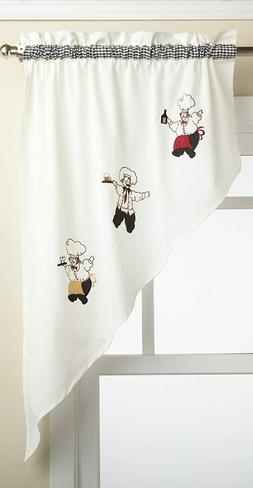 Cheers Chef embroidered kitchen curtain swag  - {BRAND NEW}
