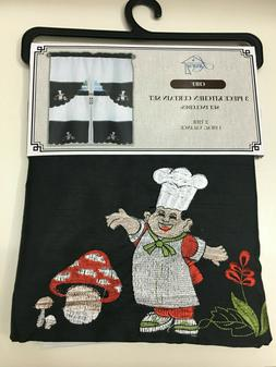Chef, Mushrooms and Flowers Kitchen Curtain and Swag Set