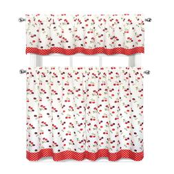Cherries & Polka Dots Complete 3 Pc. Kitchen Curtain Tier &