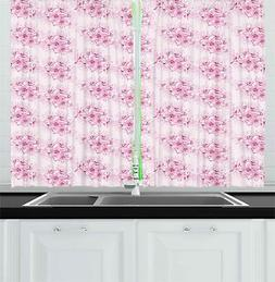 Cherry Blossom Kitchen Curtains 2 Panel Set Window Drapes 55