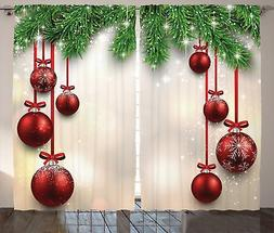 Ambesonne Christmas Curtain Red Green Decorations by, Xmas I