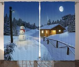 Christmas Curtain Snowman Christmas Decorations for Bedroom