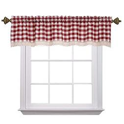 Christmas Curtain Valances for Windows Gingham Cotton Blend