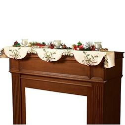Christmas Holiday Holly Berry Table Linens, Ivory, Mantel Sc