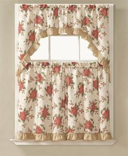 Christmas Poinsettia Holly 3 Pc. Kitchen Curtain Tier & Swag