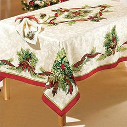 """Brylanehome Christmas Ribbons Tablecloth, 60""""X120"""" Oblong"""