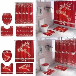 Christmas Snowman Print Toilet Bathroom Mat And Shower <font