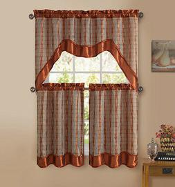 Cinnamon 3-Pc Kitchen Window Curtain Set: Double-Layer, 2 Ti