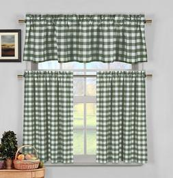 Citrus Yellow Gingham Checkered Plaid Kitchen Tier Curtain V